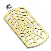 Spider Web Gold IP Pattern Stainless Steel Dog Tag Pendant