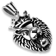 Stainless Steel Crowned Lion Pendant
