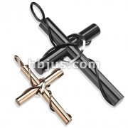 Pair of Stainless Steel Duo Tone Cylinder Cross with Rings Pendants