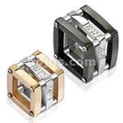 Pair of Stainless Steel Duo Tone Hollow Block with CZ Accent Couple Pendants