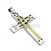 Stitch Cross Two Tone Gold IP Stainless Steel Pendant