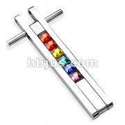 Stainless Steel Paved Rainbow Square Gems Pendant