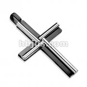 Cross Two Tone Black IP with Oval Cylinder Windmill Stainless Steel Pendant