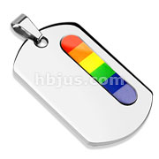 Stainless Steel Rainbow Verticle Bar Dog Tag