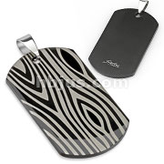 Black IP Stainless Steel with Laser Etched Zebra Print Dogtag
