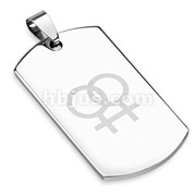 Stainless Steel Laser Etched Double Female Sign Dogtag