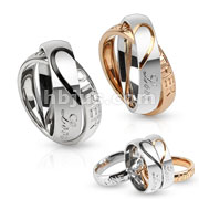 Half Heart Pair of Stainless Steel Two Toned Ring Couple Pendants with