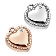 Single CZ Heart with Dotted Edge Stainless Steel Pendant