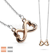 Infinity Heart Stainless Steel Pendant Chain Necklace