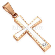 Two Tone Rose Gold IP Cross Stainless Steel Pendant
