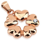 Five Hearts with CZ Rose Gold IP Over Stainless Steel Pendant