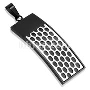 Tow Tone Black IP Honey Comb Stainless Steel Pendant