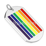 Rainbow Stripe Enamel filled Stainless Steel Pendant