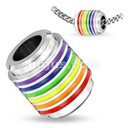 Rainbow Striped Style Stainless Steel Pendant