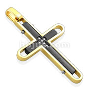 Black and Gold IP Cross with CZ Stainless Steel Pendant