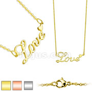 Love Lettering with Heart Pendant 316L Stainless Steel Chain Necklace