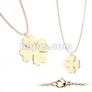 Four Leaf Clover Pendant on Rose Gold 316L Stainless Steel Pendant with Chain
