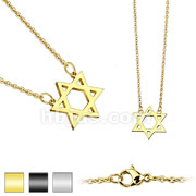 Star David Black IP 316L Stainless Steel Chain Necklace