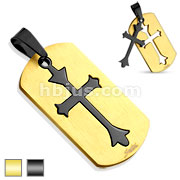 Two Tone Cut Out Templar Cross 316L Stainless Steel Dog Tag Pendant