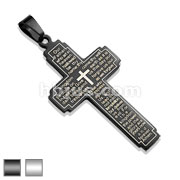 Lords  Prayer on Cross Black IP over Stainless Steel Pendant