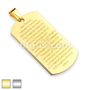 Lords  Prayer on Stainless Steel Dog Tag Pendant