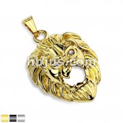 Clear CZ Eyes Lion Head Stainless Steel Pendant