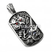 Gemmed Eye Tiger and Dragon Stainless Steel Pendant