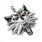 Red CZ Eyes Wolf Head Stainless Steel Pendant