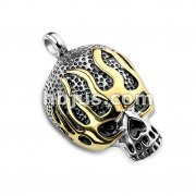 Gold Flaming Black Filled Stainless Steel Skull Pendants