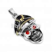 Gold PVD and Black Enamel Filled Hat with Red Gem Eyes Pirate Skull Stainless Steel Pendants