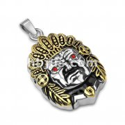 Gold PVD and Red Gem Eyes Tribal Chief Two Tone Stainless Steel Pendants