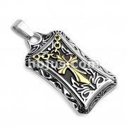 PVD Gold Celtic Cross Center Square Stainless Steel Pendants