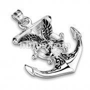 Eagle on Anchor with Ship Wheel Stainless Steel Pendant