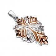 3mm CZ Centered Gold Plated Fleur De Lis Cross Stainless Steel Pendant