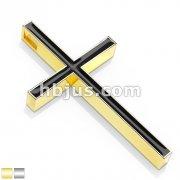 Black Enamel Filled Cross Stainless Steel Pendant