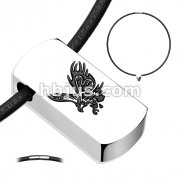 Flying Eagle Beveled Black IP 316L Stainless Steel Tag Pendant with Black Leatherette Necklace