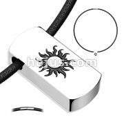 Blazing Sun Beveled Black IP 316L Stainless Steel Tag Pendant with Black Leatherette Necklace