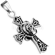 Celtic Cross with Round Skull Stainless Steel Pendant