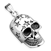 Skull with Carved Stars Head Stainless Steel Pendant