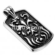 Fiery Fleur De Lis Cast Dog Tag 316L Stainless Steel Pendant