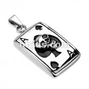 Skull Ace Over Ingraved Spades 316L Stainless Steel Pendant