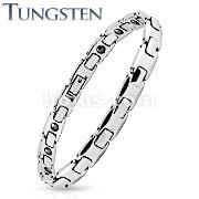 Thin Width H Link Tungsten Carbide Chain Bracelet