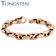 Anchor Link Rose Gold IP Over Tungsten Carbide Chain Bracelet