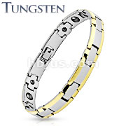 Rectangle Gold IP Edge Two Tone Tungsten Carbide Link Bracelet