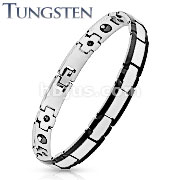 Rectangle Black IP Edge Two Tone Tungsten Carbide Link Bracelet