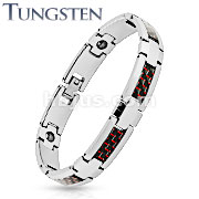 Red and Black Carbon Fiber Strips Center Tungsten Carbide Bracelet