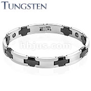 Black IP Cross Links Two Tone Tungsten Carbide Bracelet