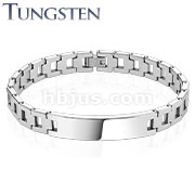 Hollow Square Chains with ID Plate Tungsten Carbide Bracelet