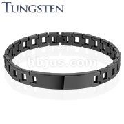 Hollow Square Chains with ID Plate Black IP Over Tungsten Carbide Bracelet