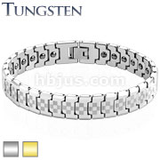 Laser Engraved Checkered Links Gold IP Over Tungsten Carbide Bracelet